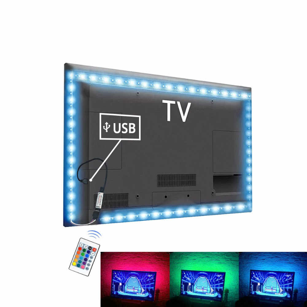 USB LED Strip RGB Tape TV Backlight PC Ambilight Lampu Neon SMD 2835 5V Tira LED Lampu Strip untuk dekorasi Lampu Diode Pita