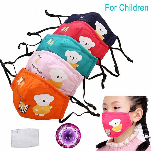 Cute PM2.5 Washable Mouth Mask With Valve Kids Children Anti Haze Dust Mask Nose Filter Face Muffle Bacteria Flu Respirato