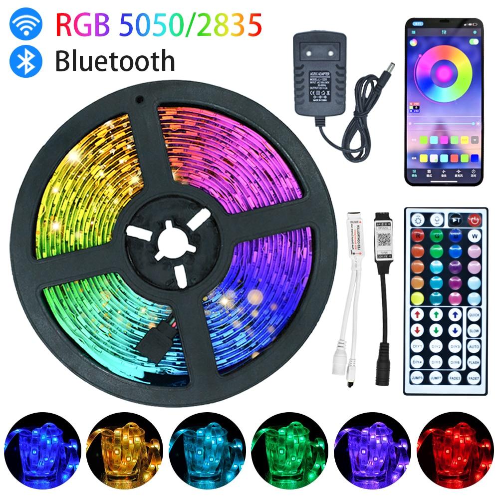 Светодиодные ленты Bluetooth Iuces LED RGB5050, водонепроницаемая Рождественская гибкая лента с диодами 5 м, 10 м, 15 м, 20 м, светодиодные лампы с Wi-Fi