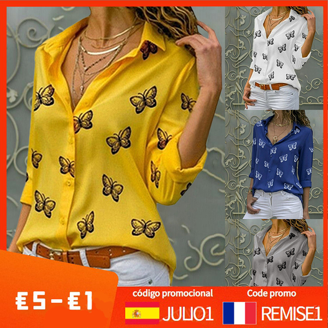 Fashion Women's Butterfly Print Blouse Shirt 2021 Spring Summer Casual Long Sleeve V Neck Ladies Buttons Tops Loose Blouses 1