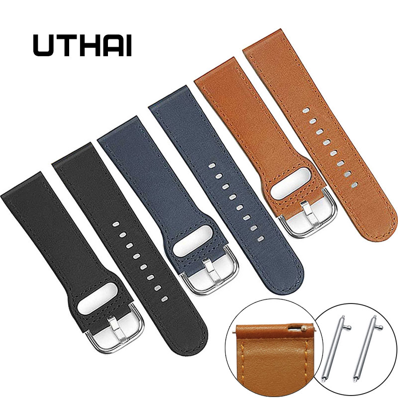 UTHAI P23  Watchbands 22mm Geniune Leather Watchbands Perforated Car Line 22mm Leather Strap