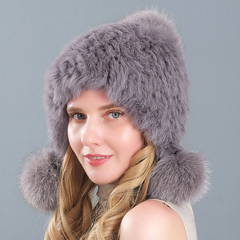 Fashion Women Real Rabbit Hat Winter Warm Rabbit fur Knit Hats Women Fox Fur Ball Cap image