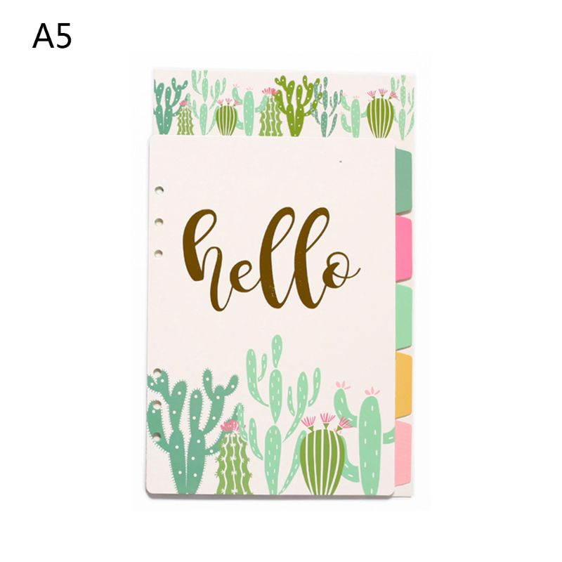 1Set A5 A6 Loose Leaf Notebook Divider 6 Hole Index Separator Binder Stationery Dropshipping
