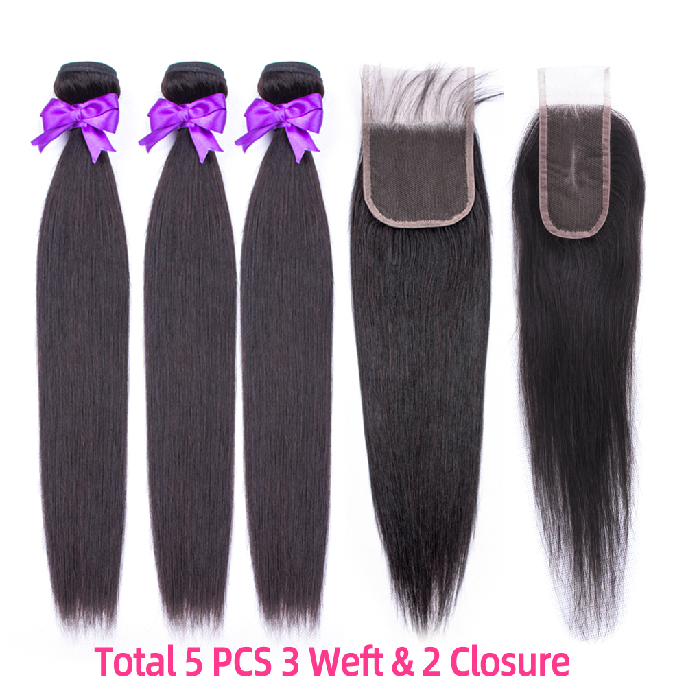Peruvian Human Hair Straight Bundles 60 Gram With Closure 3 Weft With Lace Closure 4x4.Free Lace Closure 4X2. For Women 60g