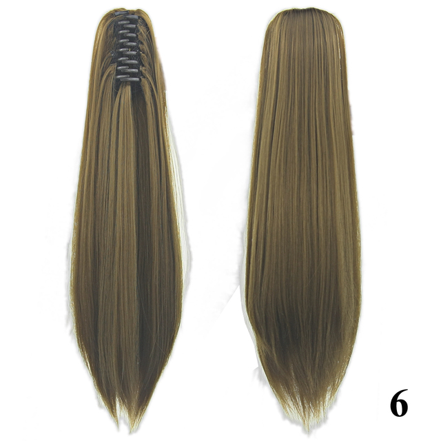 Soowee 24inch Long Gray Blonde Wavy Clip on Hairpiece Extensions Pony Tail High Temperature Fiber Synthetic Hair Claw Ponytails 6