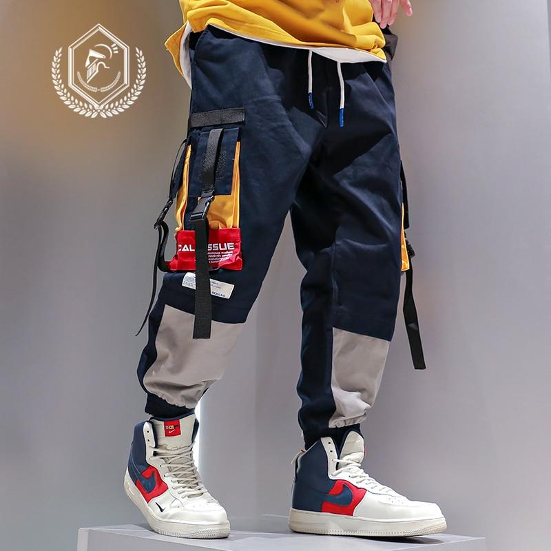Golomie Men Loose Safari Style Pants Casual Pockets Harem Jogger Patchwork Pants Ankle-Length Hip Hop Pants