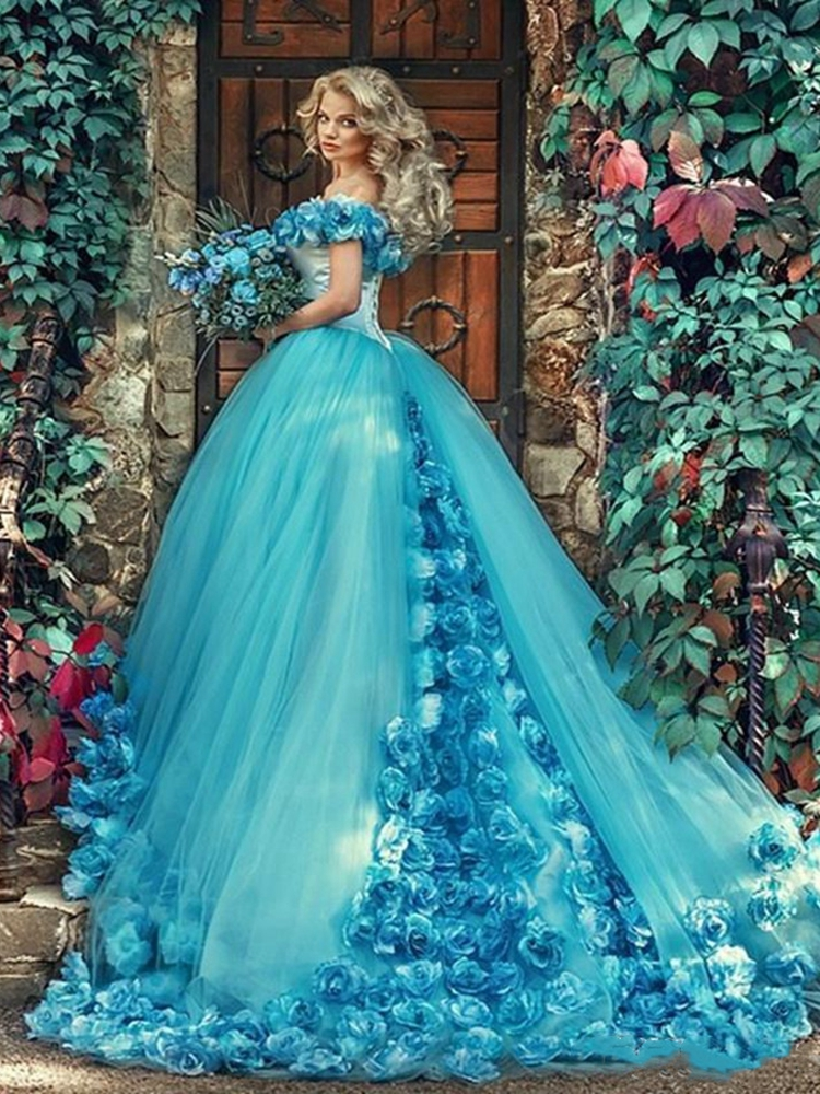 Ball-Gown Prom-Dress Quinceanera-Dresses Flowers Tulle Light-Blue Fluffy-Off-The-Shoulder
