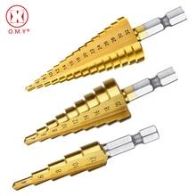 цена на OMY Professional HSS Steel Large Step Cone Hex Shank Coated Metal Drill Bit Cut Tool Set Hole Cutter 4-12/20/32mm Wholesale