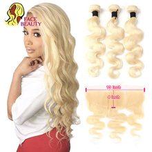 Facebeauty, cheveux naturels brésiliens Remy Body Wave blond 613 13x4, avec Closure Swiss Lace Frontal, en lots de 2/3/4, partie libre et centrale
