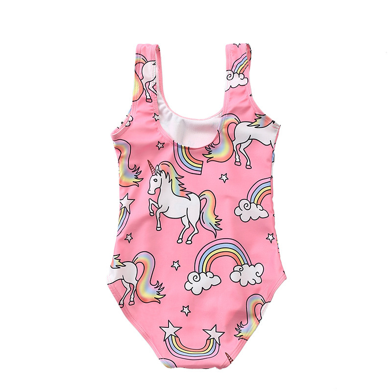 KID'S Swimwear Baby Girls One-piece Swimwear Europe And America Unicorn Printed Children Small CHILDREN'S Girls Swimwear