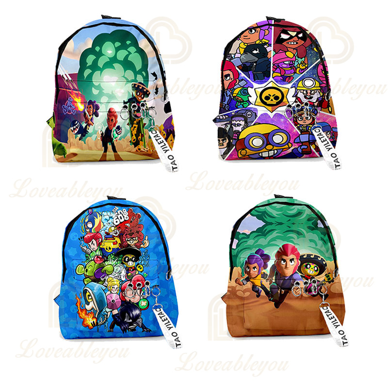 Brawl Game Cartoon Heroes School Bag Figure Model Spike Shelly Leon PRIMO MORTIS Toys Birthday Gifts For Boys Girls Kids