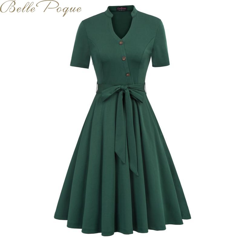 Belle Poque Vintage Party Dress Retro Pleated Dresses Women Solid Short Sleeve Pocket Casual Dresses Vestidos 2019 Summer