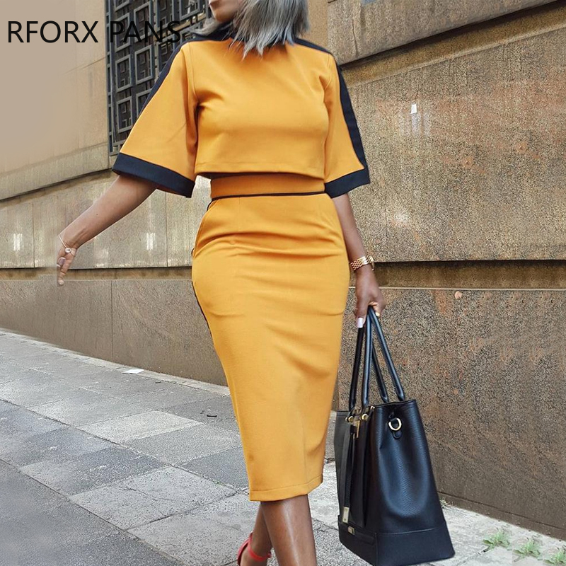 Colorblock Short Sleeve Crop Top & Slinky Skirt Sets