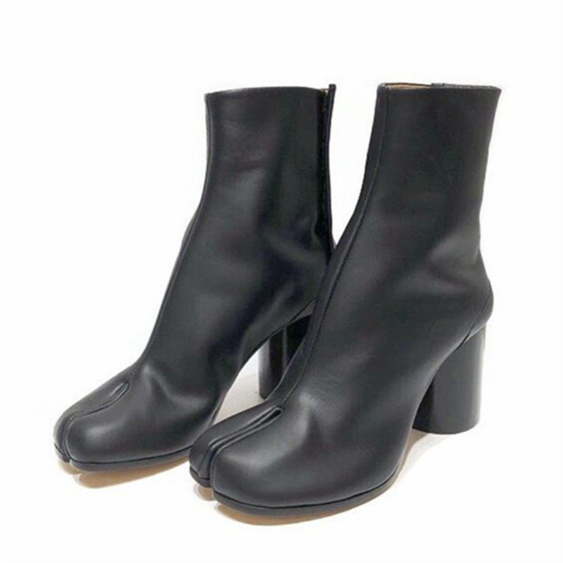 Sexy Split Toe Ankle Boots for Women Genuine Leather Military Botas Mujer Short Motorcycle Boots Chunky High Heel Boot