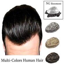 재고 인간의 머리 가발 남자 toupee 가기 머리 조각 슈퍼 얇은 피부 Toupee 페루 레미 헤어 편안한 망 가발