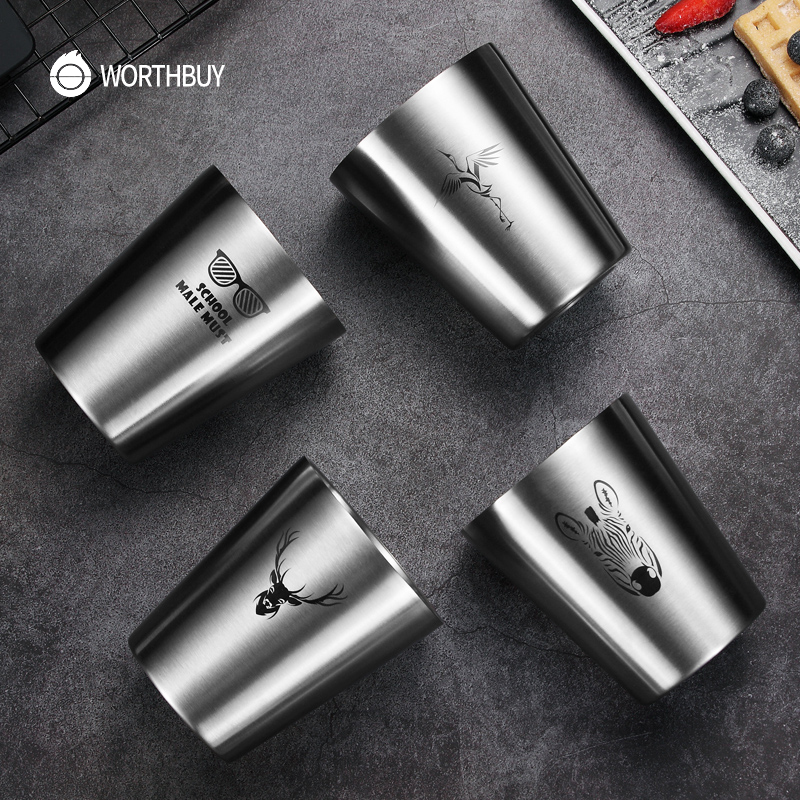 WORTHBUY Cute Pattern Beer Mug 304 Stainless Steel Beer Cup Coffee Mug With Double Wall Kitchen Drinkware For Kids Water Mug