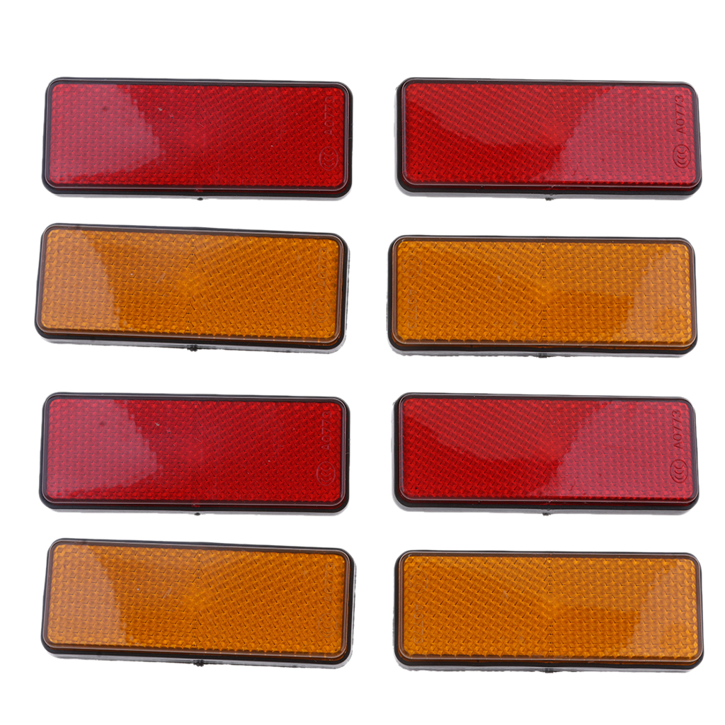 8pcs Rectangle Reflectors Universal for Motorcycle ATV Dirt Bike <font><b>Scooter</b></font> image
