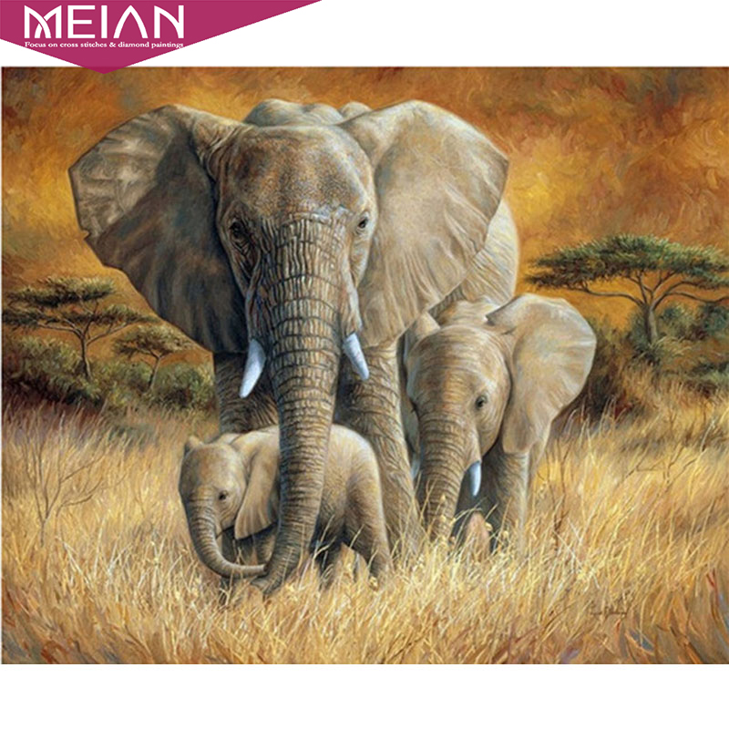 Horenme Little Elephant DIY 5D Diamond Embroidery Painting Cross Stitch Home Office Decor