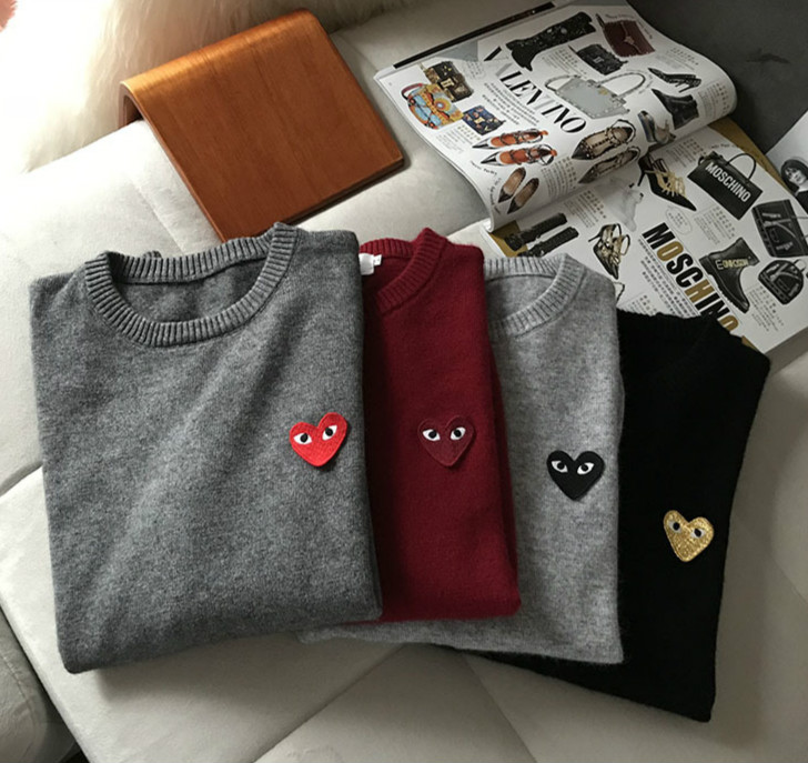Love Embroidered Sweater Men And Women Couple's Round O Neck Sweater H2
