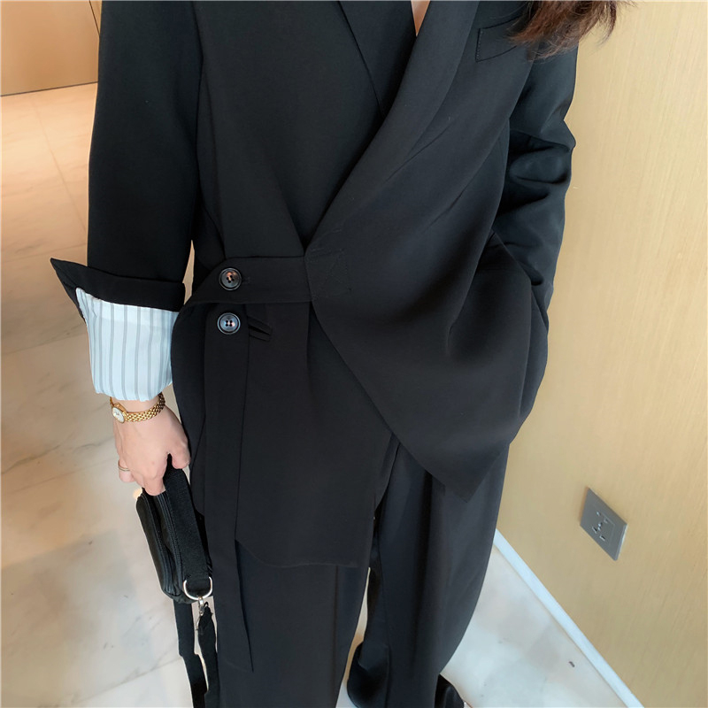 BornSra Vintage Two Pieces Set Women Blazer Set Lace Up Notched Blazer & Loose Pant Women Pant Suits Female Trouser Suit 2020