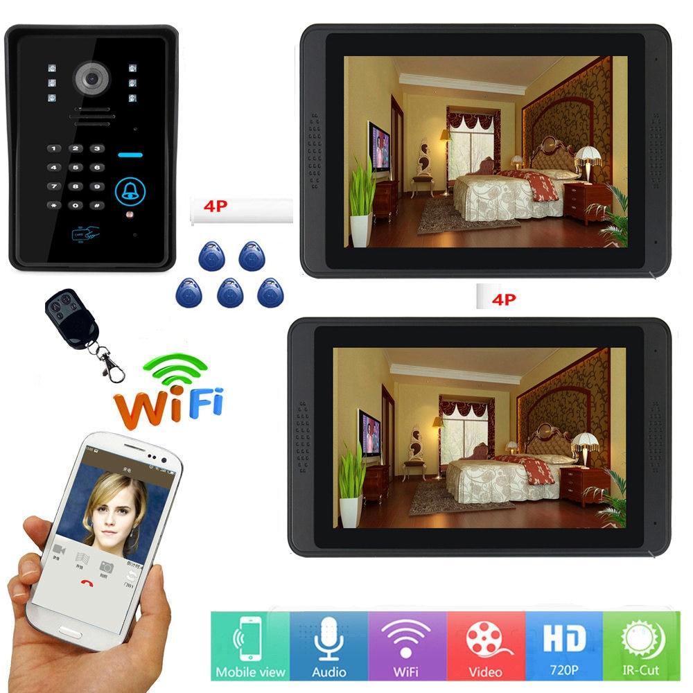 RFID Video Intercom 7 Inch Monitor Wifi Wireless Video Door Phone Doorbell 1 Camera 2 Monitor APP Control