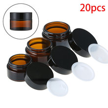 20pcs 5g 50g Amber Glass Jars Containers Cosmetic Cream Lotion Powder Brown Bottles Makeup Pots Travel Cases with Black Lids