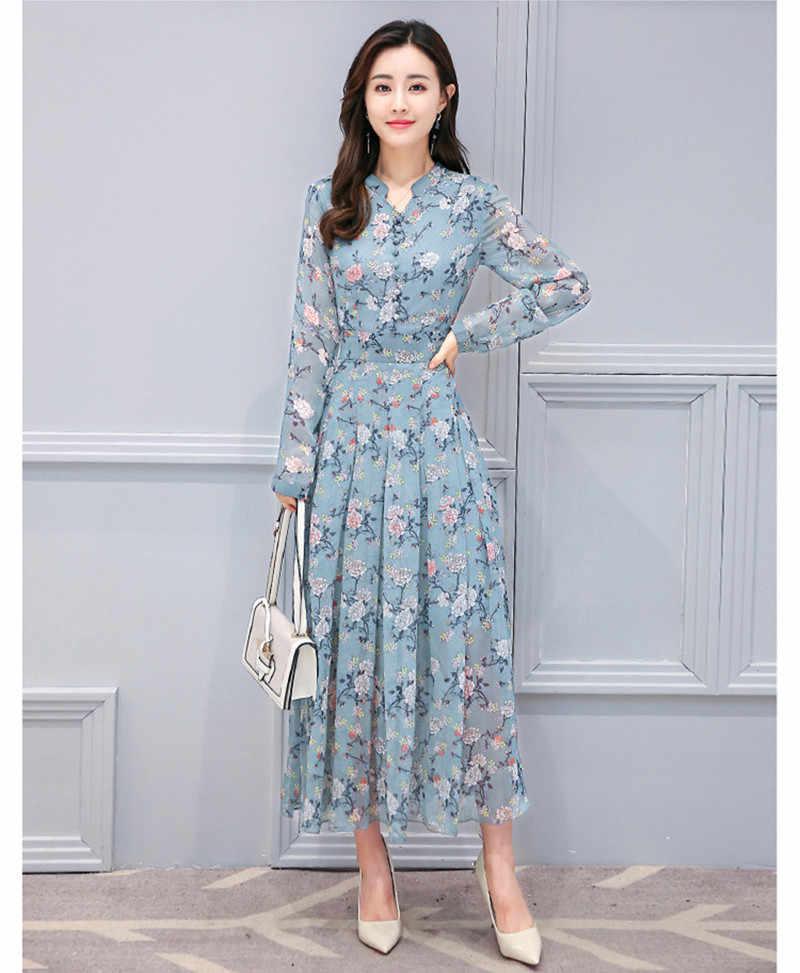 2020 kadın şifon çiçek elbise kadın zarif uzun kollu bahar yaz elbiseler ince parti Robe Longue Vestidos WXF742