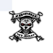 Kişilik araba Sticker zombi Off- Road kafatası kemik biyolojik tehlike motosiklet aksesuarları çıkartmaları kapak Scratch,16cm * 14cm