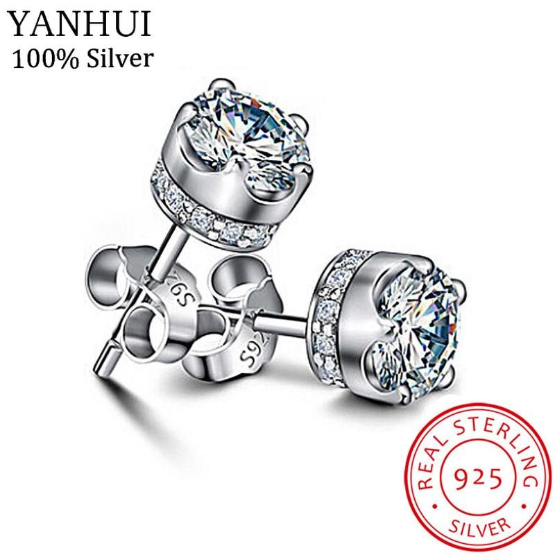 YANHUI Luxury 100% Original 925 Sterling Silver Stud Earring 5A Grade Cubic Zirconia Earring For Women Gift Wedding Jewelry E228