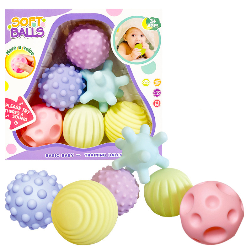 Baby Toy Soft Rubber Hand Catching Ball Tactile Perception Massage Ball Puzzle Can Bite Cognitive Ball Kid Bathing Soothing Toys