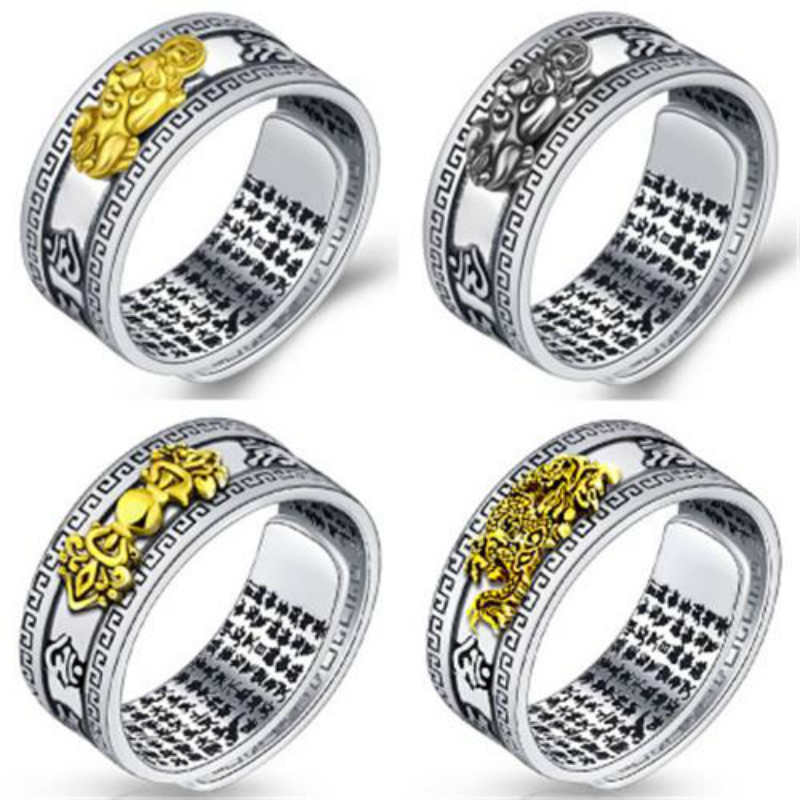 Кольцо Pixiu с подвеской фэн шуй, амулет с сокровищами на удачу, открытое регулируемое кольцо Будды, ювелирные изделия, подарок для женщин и мужчин Кольца      АлиЭкспресс