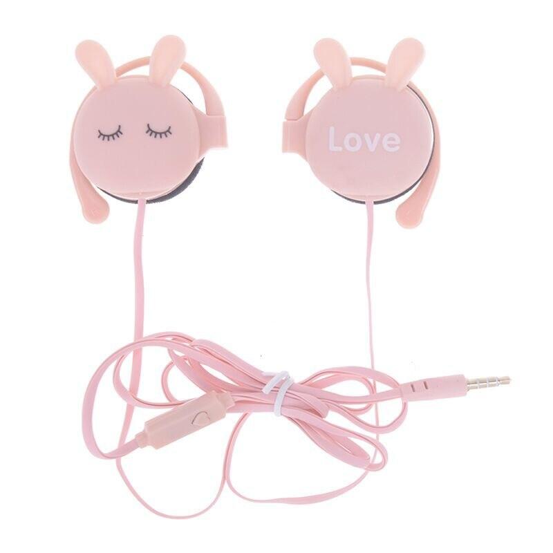 3.5mm bonito estudante fone de ouvido dos desenhos animados coelho bonito com fio fone de ouvido música esportes orelha-gancho menina cor sólida fones de ouvido
