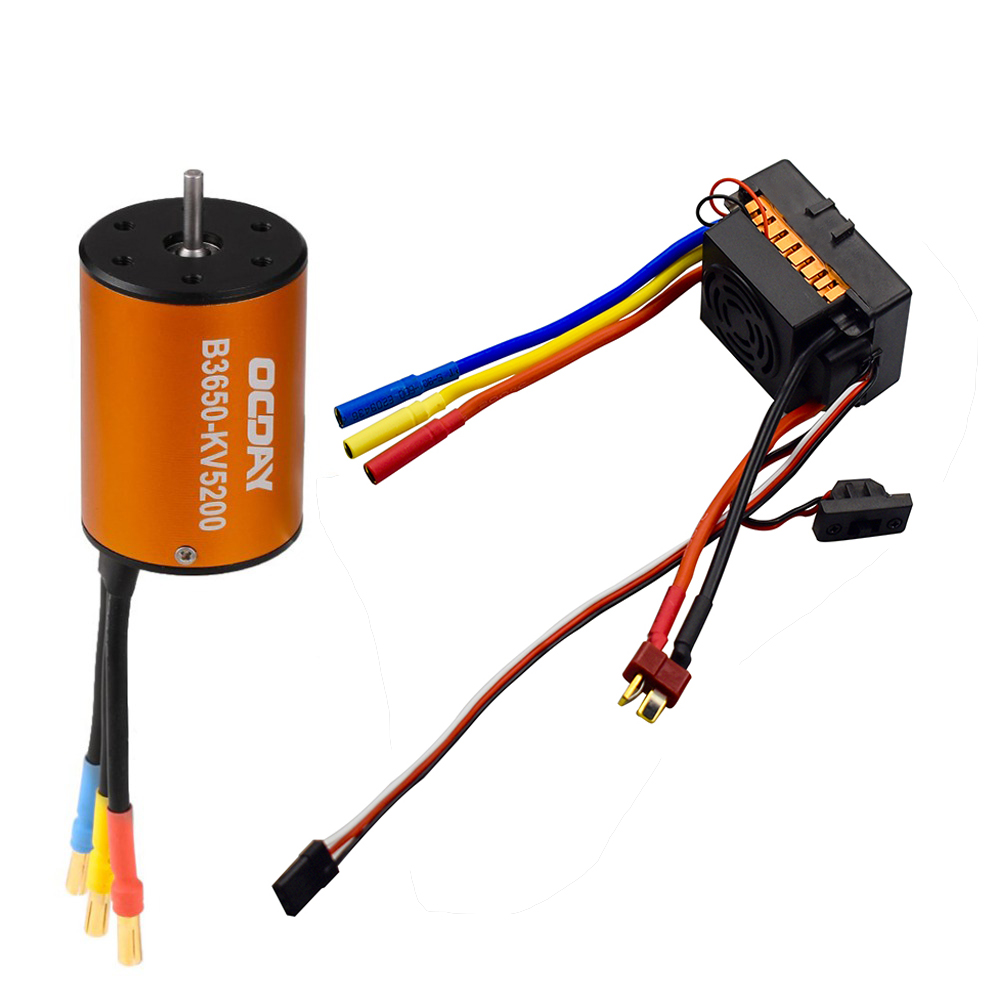 OCDAY 3650 5200KV 4 poles Sensorless <font><b>Brushless</b></font> <font><b>Motor</b></font> with 60A Electronic Speed Controller Combo Set for 1/10 <font><b>RC</b></font> Car and Truck image
