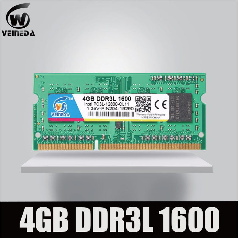 Veineda sodimm ddr3l 2 gb 4 gb 8 1600 mhz memória ram ddr 3l PC3-12800 204pin compatível todos intel amd ddr3l portátil