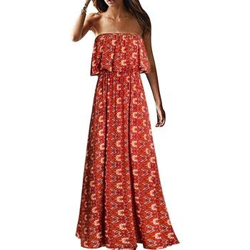 Damska letnia bez ramiączek długa sukienka modny Top tuba bez ramiączek długa sukienka plażowa kwiatowe w stylu boho drukuj sukienka na wakacje Vestidos tanie i dobre opinie XIYOUNGYOUNG A-LINE CN (pochodzenie) Lato REGULAR NONE w plażowym stylu Kostek POLIESTER Dla osób w wieku 18-35 lat Dresses