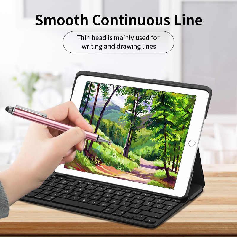 2 em 1 stylus para tablet smartphone grosso desenho fino android tela do telefone móvel caneta de toque metal universal capacitivo lápis