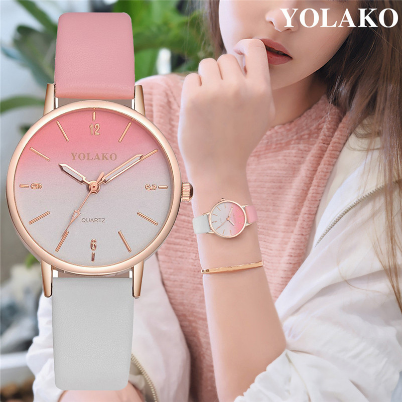 Luxury Women Watches Casual Leather Belt Round Quartz Wrist Watch Gradual Color Scale Convex Watch For Ladies Gift For Lover #C