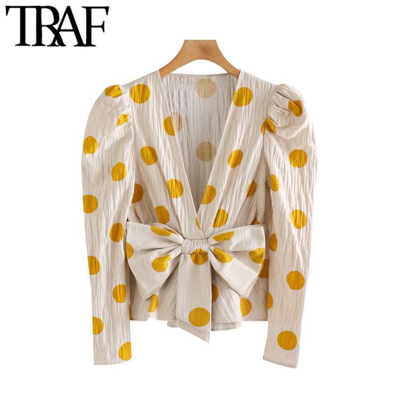 TRAF Women Fashion Polka Dot With Bow Blouses Vintage V Neck Puff Sleeve Ruffled Female Shirts Blusas Chic Tops