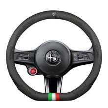Capa para volante de carro em couro legítimo, 38cm, preto, genuíno, esportivo, para alfa romeo 159 147 156 giulietta 166 mito stvio julia
