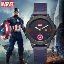 Big Sale Super Hero Men Quartz Watches Calendar Luminous Hands Leather Strap Gif
