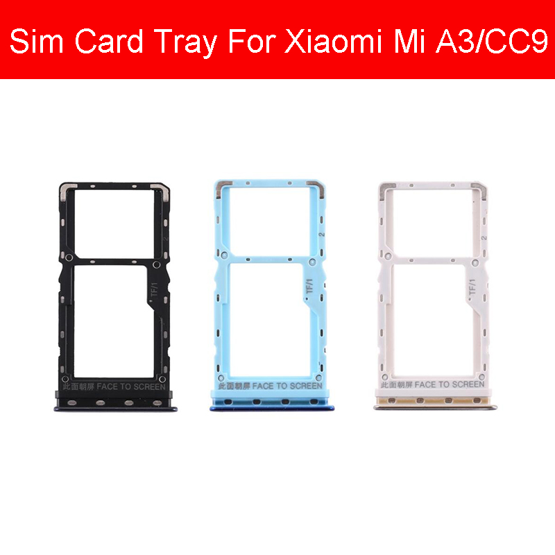 Black & Blue & Gold SIM Card Tray Holder For Xiaomi MI A3 CC9 Micro Sim Card Slot Adapter Cell Phone Replacement Repair Parts