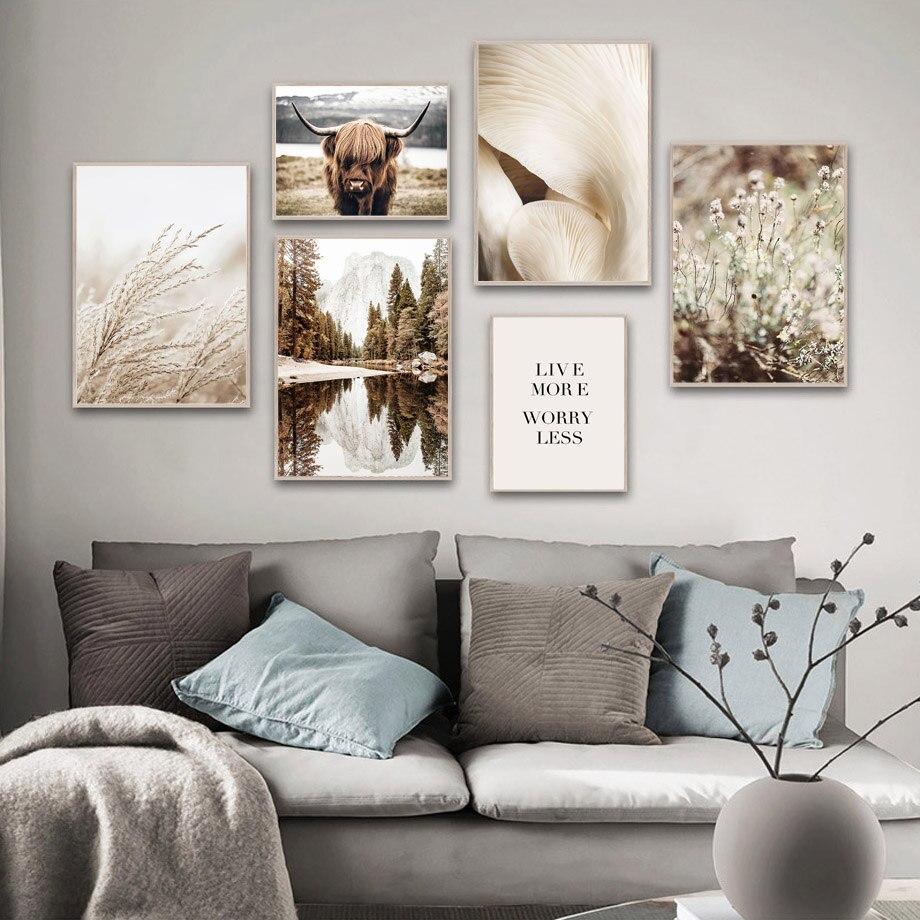 Highland gado lago floresta cogumelo reed parede arte da lona pintura nórdico cartazes e impressões fotos de parede para sala estar decoração