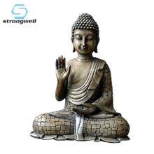 Resin Thailand Buddha Statue Vintage Bronze Sculpture Hindu Fengshui Figurine Meditation Miniature Home Decoration Accessories