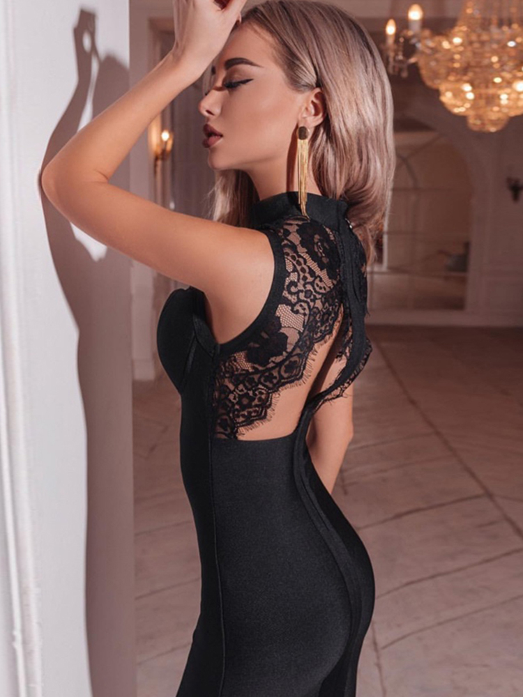 Bandage Dress Celebrity Vestidos Evening-Runway Black Lace Midi Sexy Backless Hollow-Out