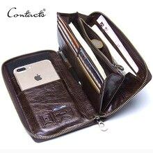 """Véritable cuir hommes pochette portefeuille marque mâle porte carte longue fermeture éclair autour de voyage sac à main avec porte passeport 6.5 """"coque de téléphone"""
