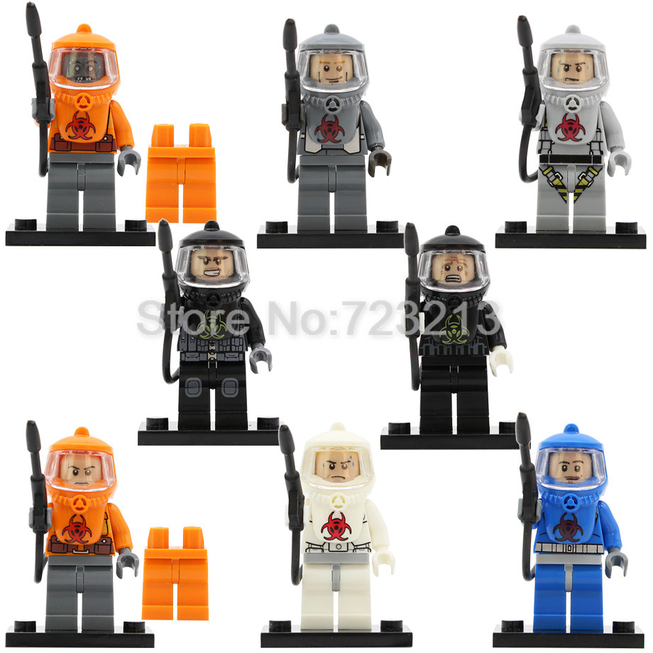 Single Sale PG8081 Fire-fighting Anti-Chemical Clothers Figure Human Zombie Movie Game Building Blocks Bricks Model Kits Toys