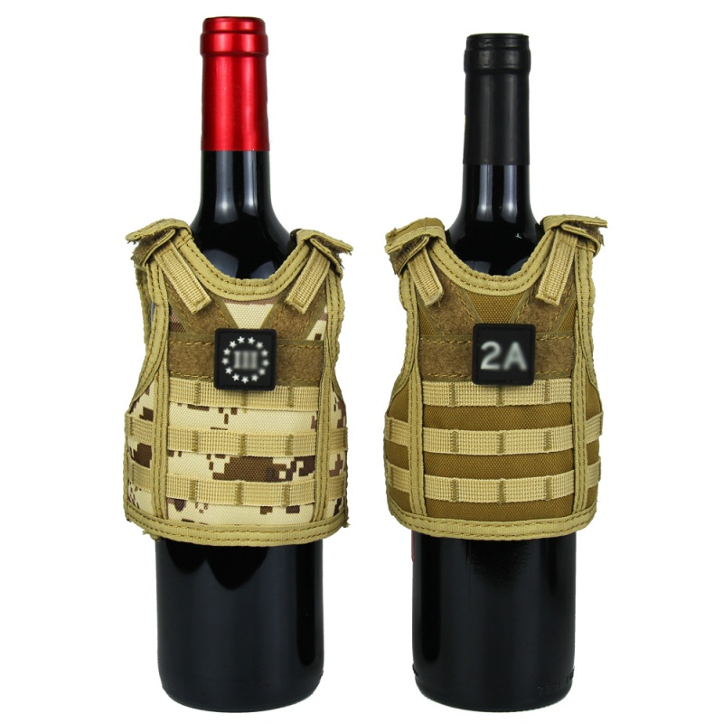 Beer Bottle Tactical Beer Vest Cover Military Mini Miniature Molle Vest Personal Bottle Drink Set Adjustable Shoulder Straps
