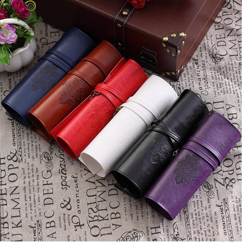 Vintage Retro Luxury Roll Leather Make Up Cosmetic Pencil Bag Pencil Case Pouch Purse Bag For School Supplies Stationery