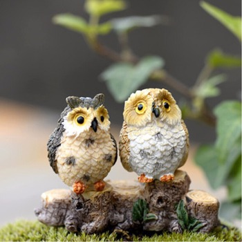 1/2pcs Owls Animal Figurines Resin Miniatures Figurine Craft Bonsai Pots Home Fairy Garden Ornament Decoration Terrarium Decor 1