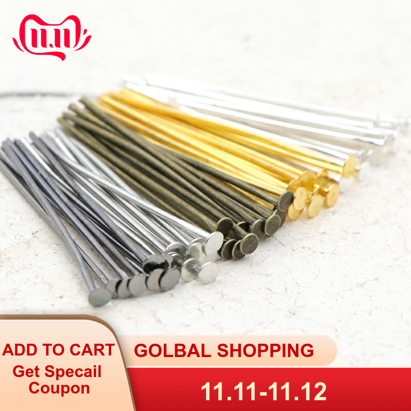200pcs 20 30 35 40 45 50 60 65 70 Mm Metal Heads Eye Flat Head Pin For Jewelry Making Findings Accessories Wholesale Supplies